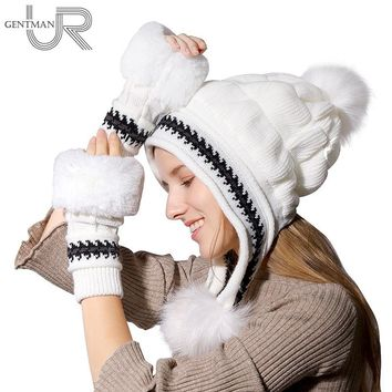 Fashion Women's Winter Hat Female Fur Knitted Hat With Gloves Set Pompoms Ball Beanie Cap Thick Beanie Gorros Bonnet Femme Hat