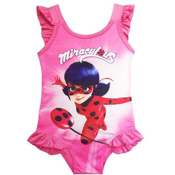 Children's Swimsuit Ladybug Girl One Piece Swimsuit Miraculous Lady Bug Cartoon Babies Girls Bathing Suit Kids  3-9 Years Old