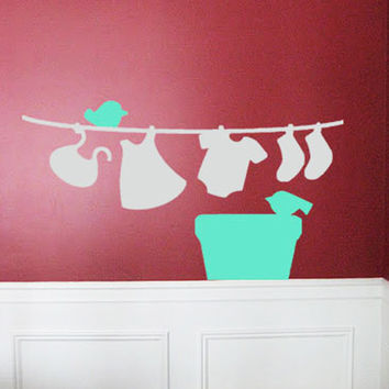 Clothes, Basket & Birds Laundry Room Wall Decor
