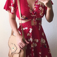Marilyn Floral Cut Out Dress - Red