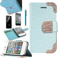 Pandamimi ULAK(TM) (Blue) Fashion PU Leather Magnet Wallet Creadit Card Holder Glitter Bling Crystal Rhinestone Flip Case Cover for Apple iPhone 4 4G 4S with Screen Protector and Stylus