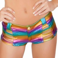 Holographic Rainbow Strapped Button Booty Shorts