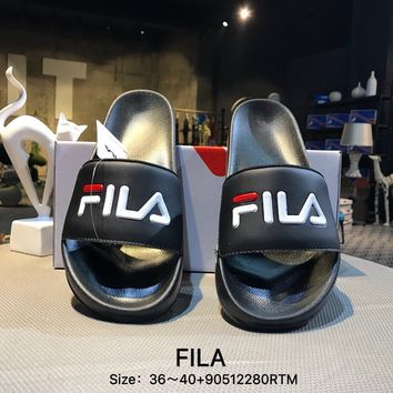 FILA Casual Fashion Women Men Print Black Sandal Slipper Shoes