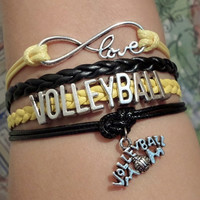 Infinity love Bracelet, Volleyball Volleyball Mom, cheer Cheerleader cheerleading bracelet Yellow Black color team. Friendship Gift