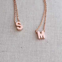 Small Personalized Uppercase Block Initial Necklace / Floating Letter Necklace in Rose Gold