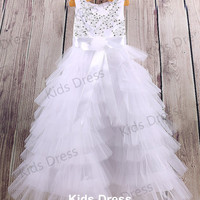 A-line Scoop Floor-length Tulle Flower Girl Dress With Applique