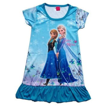 Girls Nightgown Anna and Elsa Sleepwear Pajamas Skull Outfits Kids Top Nightwear Nightgown Girls Nightdress Fro.zen Blue Dress