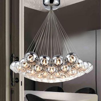 Modern Led Glass Pendant Lights For Living Dining Room Bedroom Home Dec Chrome Glass G4  AC85-265V Hanging Pendant Lamp Fixtures