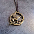 Hunger Games Mockingjay Pendant Charm Necklace in Brown Cord Gift