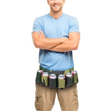The Camouflage Beer Belt - 6-Pack Can Holster