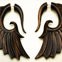 Fake Gauges  Nava Wings Black Wood Earrings by TribalStyle on Etsy