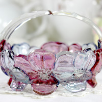 1950s Westmoreland Dogwood Split Handle Candy Dish, Vintage Carnival Glass J-1608