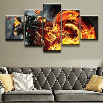 Ghost Rider Motorcycle Flames Fire Wall Art Picture For Living Room Modern Artwork