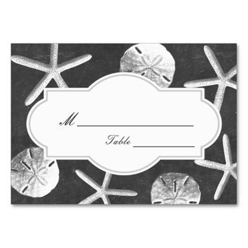 Chalkboard Seashells Beach Wedding Place Card