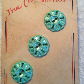 Aqua plastic buttons, aqua buttons, set of buttons, button set, button card, carded buttons, swirl buttons, vintage buttons, craft buttons