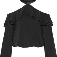Alice + Olivia - Layla ruffled satin-trimmed silk-blend top
