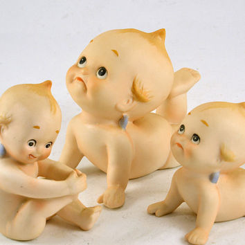 Lefton Kewpie Figurines - Bisque Piano Babies - KW228 KW913 Set of 3 - Playing with Foot - Small Crawling - Large Crawling