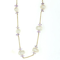 Vintage 14 Karat Yellow Gold Freshwater Pearl Amethyst Choker Cocktail Necklace Estate Jewelry  15.5 Inches