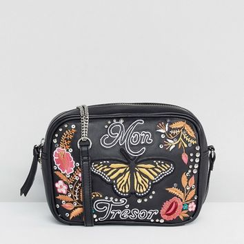 ASOS Leather 'My Treasure' Embroidered Stud Camera Bag at asos.com