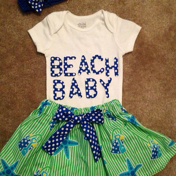 starfish BEACH BABY dress up skirt Girls sand bucket blue outfit cottage chic clothes birthday party Newborn 3 6 9 12 18 24 months 2t 3t 4t