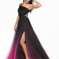 Black & Fuchsia Ombre Chiffon One Shoulder Empire Waist Prom Gown - Unique Vintage - Cocktail, Pinup, Holiday & Prom Dresses.