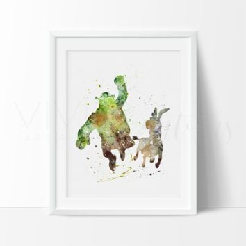 Shrek & Donkey Watercolor Art Print