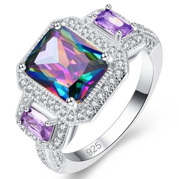 Women Lover Gift Multicolor Emerlad Cut Rainbow Topaz Gemstones 925 Sterling Silver Wedding Ring