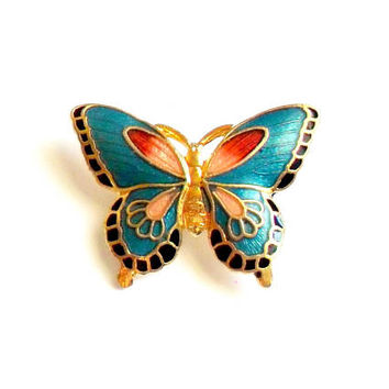 Vintage Cloisonne Butterfly Brooch - Broach Pin - Petite Small Size - Gold Pink Blue - Feminine Girly - Enamel Brooch - Gift for Her