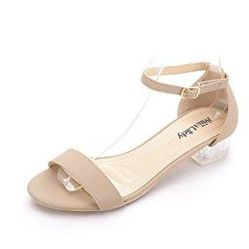 Mila Lady Backy1 Ankle Strap Lucite Clear Low Heeled Sandals for Women