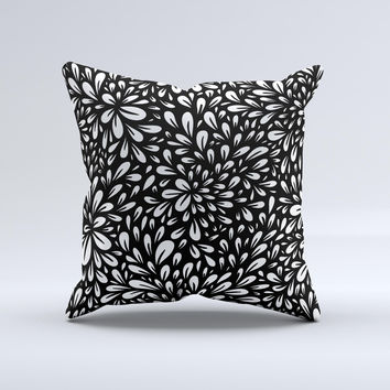 Black Floral Sprout Ink-Fuzed Decorative Throw Pillow