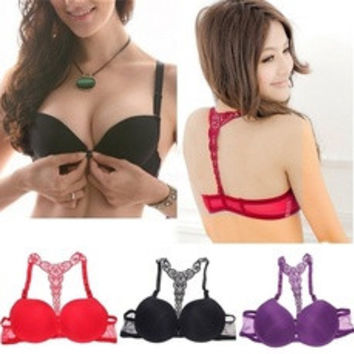Women Front Closure Lace Racer Back Push Up Bra Underwear (Bra+Panty) [8824204295]