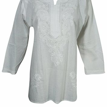 Mogul Womens Tunic Shirt White Floral Embroidered Cotton Boho Indian Top Blouse