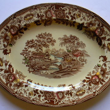 Brown English Transferware Platter Tonquin Swans Roses English China Hand Painted Serving Tray