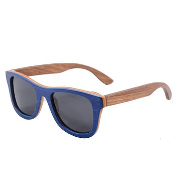Men Wood Sunglasses Polarized UV400 Skateboard Wooden Glasses Big Square Summer Goggle Oculos De Sol Masculino 68004