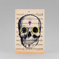 Anatomy tattooed skull dictionary Greeting Card - 4x6 inch on Ivory Paper  - created by NATURA PICTA