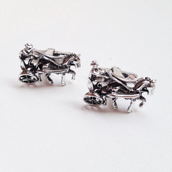 Equestrian Cuff Links Silver Tone 60s Horse and Buggy Guy Gift Vintage Men's Wedding Groom Formal Accessories - Free Shipping