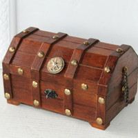 Small Humpbacked Chest Trinket Box , Wooden Pirate Box for Jewelry Man Cave , Men's Boy's Treasure Box