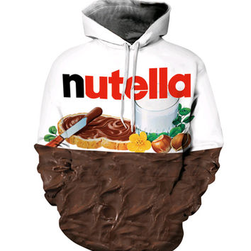 Fashion jumpers Brand Clothing 3D Nutella Chocolate Cream Print Hoodies Men Women Sweatshirts Loose casual Hooded Pullovers