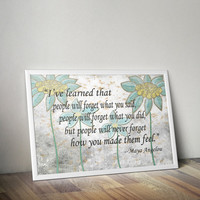 Bundle of 4 Maya Angelou Quote Prints, Maya Angelou Art Prints, African American Quote, Floral Quotes Art Print, Rustic Floral Wall Decor