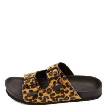Soda Buckled Cheetah Print Footbed Slide Sandals - Classic Leopard