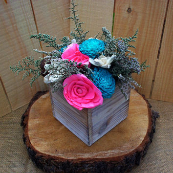 Rustic sola flower centerpiece preserved and dried flower centerpiece in your colors small centerpiece