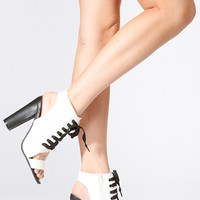 Qupid Open Toe Lace Up Heel