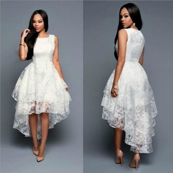 Women's Fashion Cute Sleeveless Three Layer Gauze Lace Ball Gown Party Dress Evening Elegant Dress