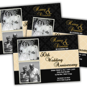 50th Anniversary Invitation - 50th Wedding Anniversary Party Invitations -  Vow Renewal Then and Now Photo Invite - Then and Now - Gold