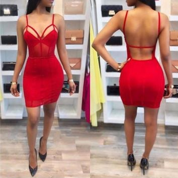 COSYGAL Solid Sexy Backless Bodycon Dress Women Sheath Summer Party Dress V Neck Spaghetti Strap Casual Mini Dreses Vestidos
