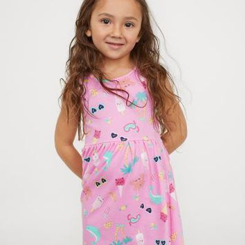 Sleeveless Jersey Dress - Pink/patterned - Kids | H&M US