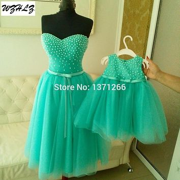 Vestidos Prom Party Dresses For Mother And Daughter 2017 Arabic Women Light Green Tulle Pearls Cocktail Dresses Gowns