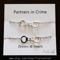 Sisters matching Rhodium plated Handcuffs Bracelets - Silver Handcuffs handcuff charm bracelet,  BFF jewelry Christmas stocking stuffer