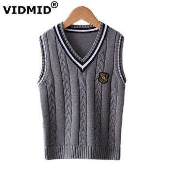 V-neck Baby Boys Knitted Vest Cardigan School Uniform Sweater Children's clothing
