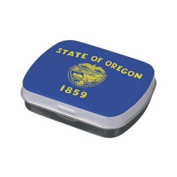 Patriotic candy tins with Flag of Oregon